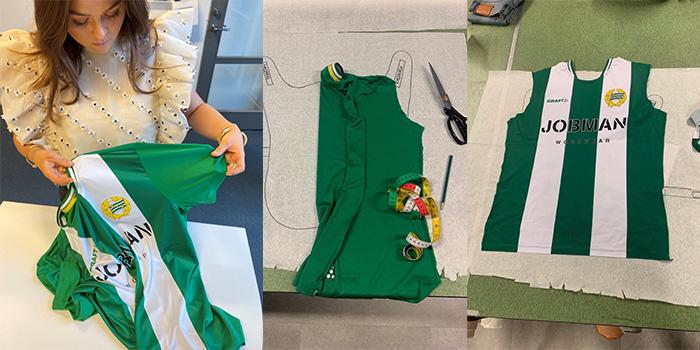 Person håller en Hammarby fotbollströja för att göra designförändringar i ett remakeprojekt