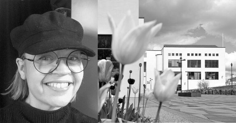 Bild på person ihop med exteriörbild på Textil Fashion Centers lokaler i Borås där Nordiska Textilakademin har sin lokaler.